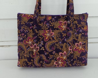 Dark Purple Floral Print Quilted Purse Quilted Handbag