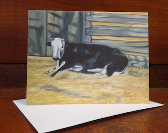 A Cow: Folded Blank Note Card, Stationary