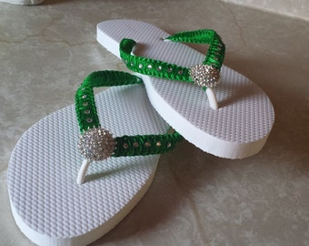 8e7481bf9846 Green Esmerald Wedding Beach Flip Flops. Rhinestone flip flops bride flip  flops. Wedding Party