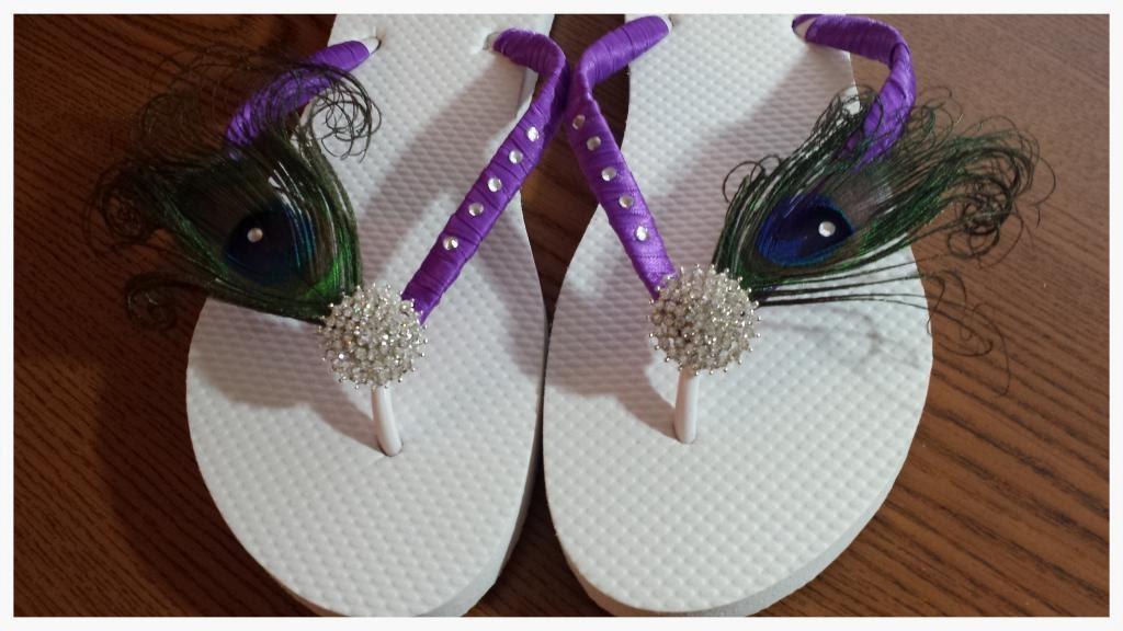 a36a040908981 Peacock Flip Flops. Purple Bridal flip flops rhinestones flip