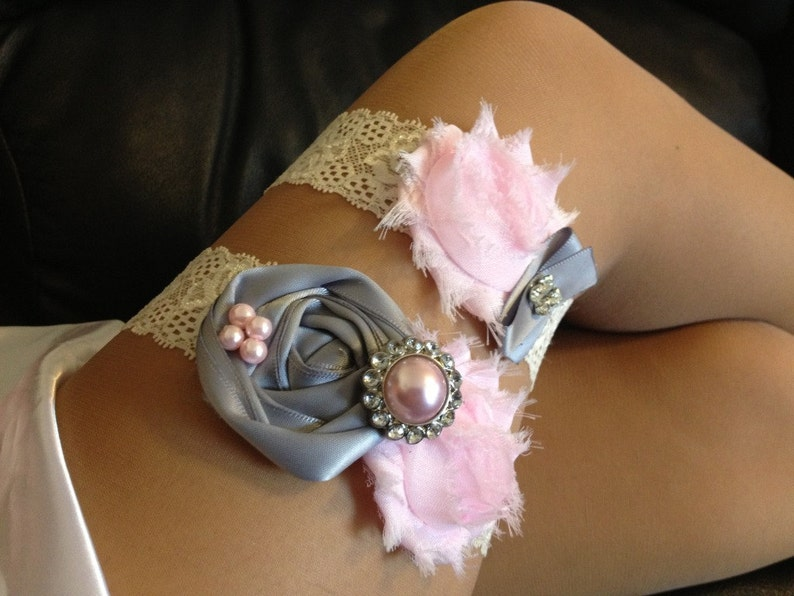 GreyPink wedding garter set  bridal garter toss garter included  wedding garter  vintage inspired lace garter...