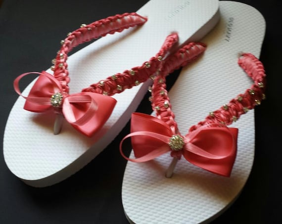 d9e88d328005 Coral Wedding Beach Flip Flops. Pearls flip flops bride flip