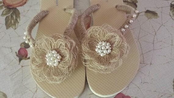6ebead9552d6 Burlap Rustic Country Wedding Beach...White Flip Flops