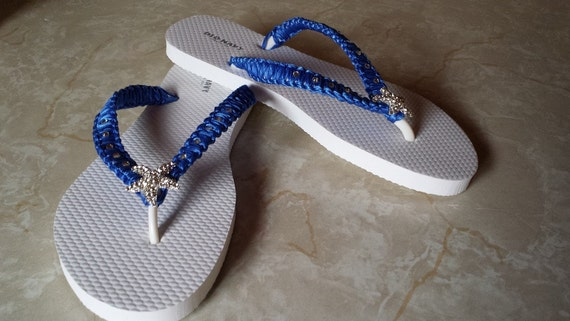 7daa536f3393e Starfish Royal Blue Flip Flops. Royal Blue Bridal shoes