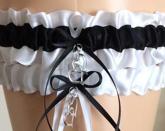 White and Black Wedding Garter, Prom Garter, Bridal Garter, Garter Belt Garter Set Weddings, Bridal Garter Set, Garter for Brides