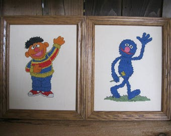 Ernie Counted Cross stitch Picture-Grover Nursery Picture-Sesame Street Wall Decor-Sesame Street Picture-Baby shower Gift