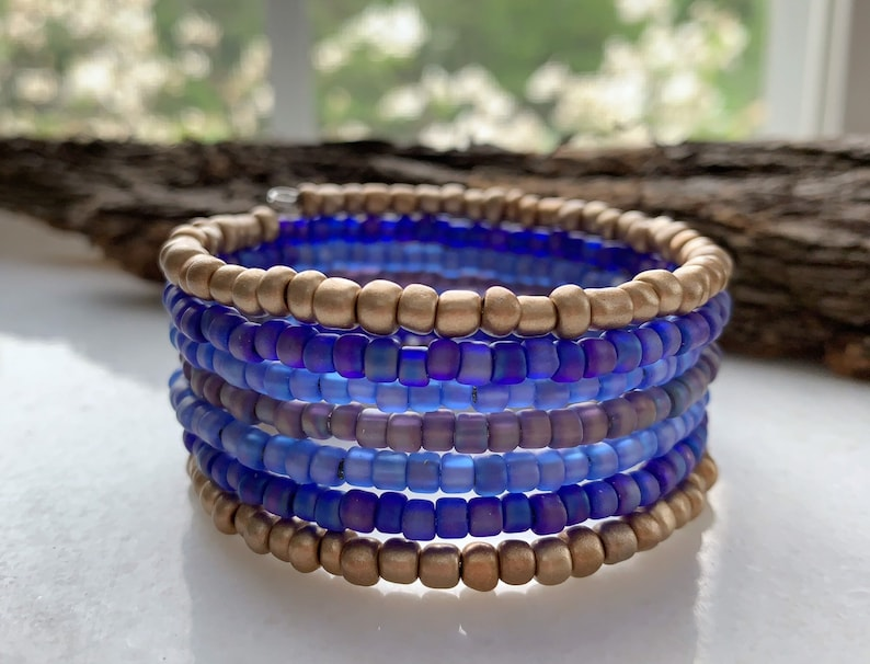 Layered Bracelet Memory Wire Cuff Seed Bead Jewelry Glass image 0