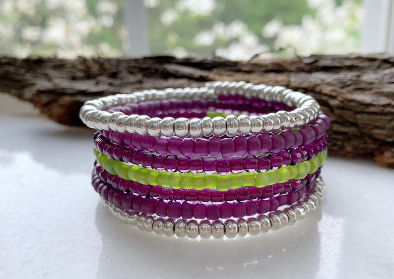 Bohemian Bracelet Boho Jewelry Memory Wire Bracelet Purple image 0