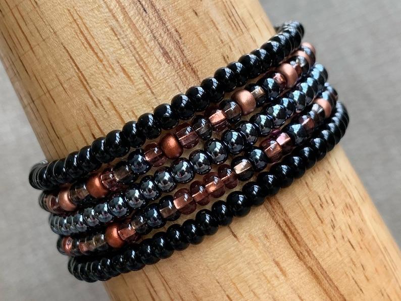 Stackable Bracelets Set of 5 Stretchy Bracelets Black Copper image 0