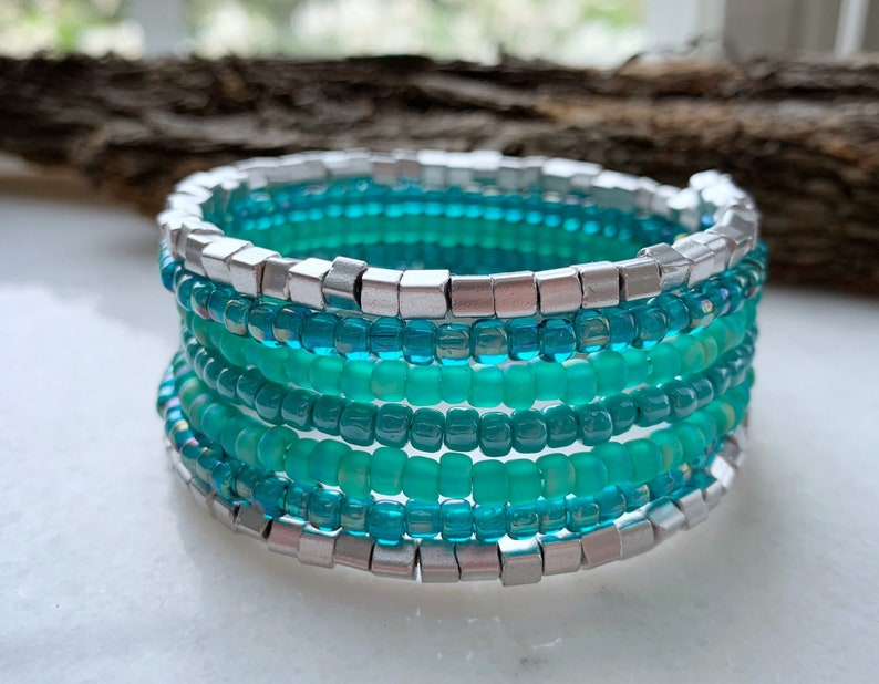 Seed Bead Memory Wire Bracelet Stacked Jewelry Wrap image 0