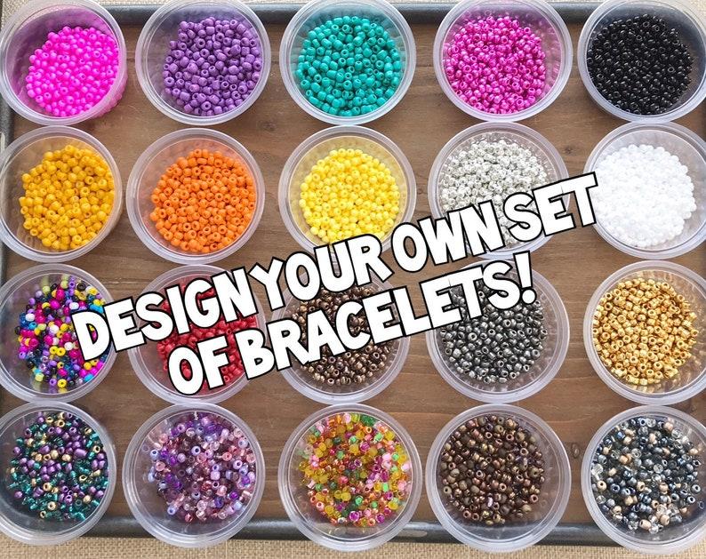 Bohemian Bracelets Personalized Bracelets Set of 7 Stretch image 0