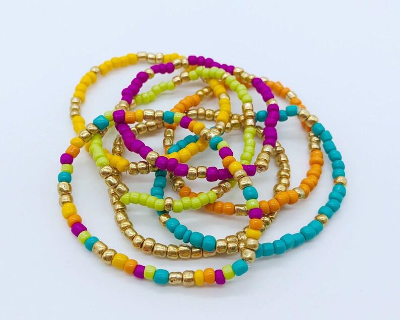 Colorful Bracelets Stackable Bracelets Set of 7 Boho Style Bracelets Friendship Bracelets Seed Bead Bracelets Seed Bead Jewelry