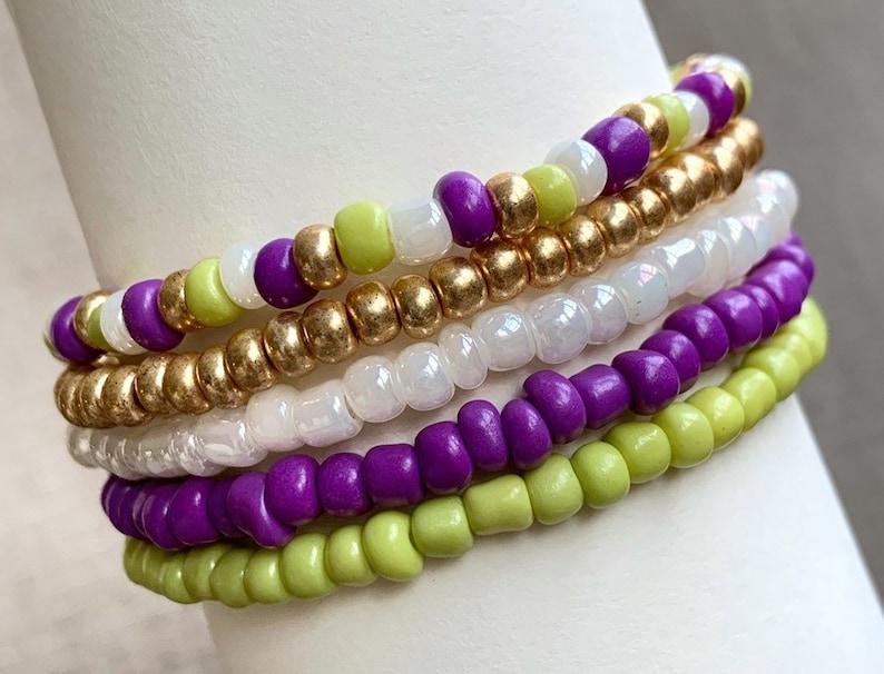 Purple and Lime Set Stretch Bracelets Set of 5 Layered image 0