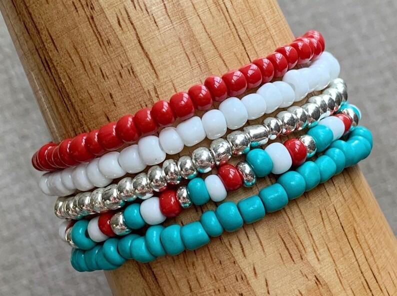 Stackable Bracelets Set of 5 Southwest Style Boho Jewelry image 0