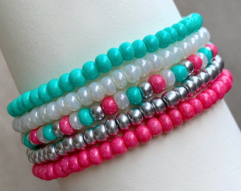 Set of 5 Bracelets Pink and Mint Green Stretch Bracelets image 0