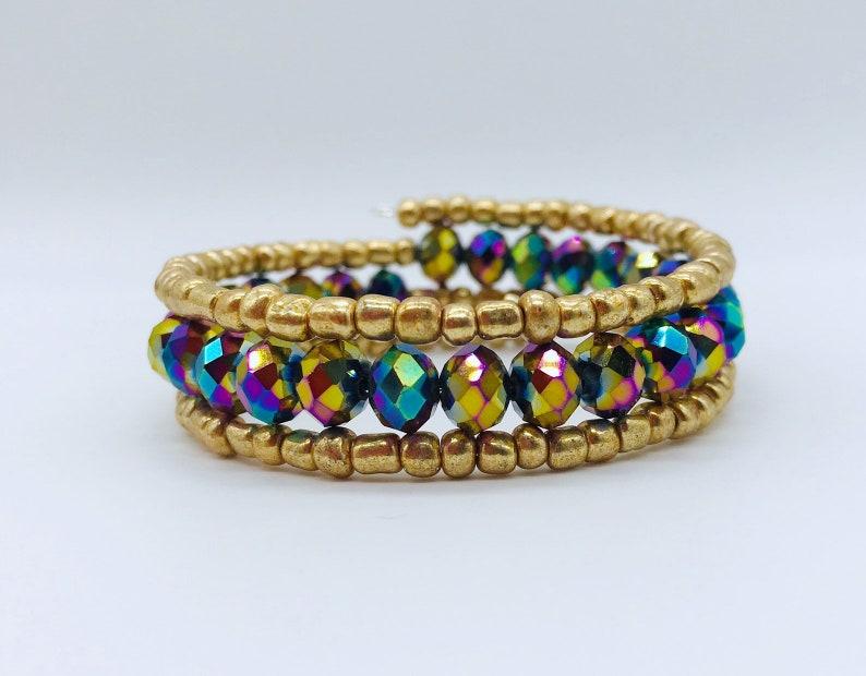 Memory Wire Bracelet Czech Glass Beads Boho Jewelry image 0