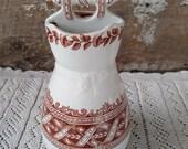 Antique Vase, Toothbrush Holder, Edge Malkin Co E.M. Co, Argyle Transferware, Reg. Mark 1879, 7 quot tall