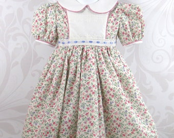 45f4ac63d Toddler Girl Dress, Size 4T, Special Occasion, Spring, Summer, Floral  Print, Fully Lined, Handmade, Traditional Style, Eyelet Trim