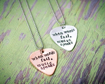 When words fail music speaks necklace, when words fail music speaks key chain, guitar pick necklace, music necklace