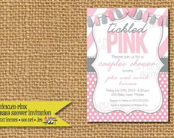 Tickled Pink Baby Shower Invitation. (5x7 Printable)