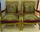 French Louis XV Style Chairs (a pair) 19th Century Hand Carved Gold Gilt Frame and Aubusson Wool Needlepoint Upholstery