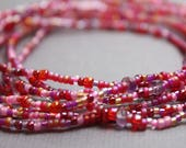 Pink Seed Bead and Amethyst Stretch Bracelet Necklace