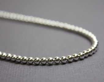 Silver Sleek Ball necklace \u2022 Small Bead Necklace \u2022 Single Bead Necklace \u2022 Bead pendant necklace