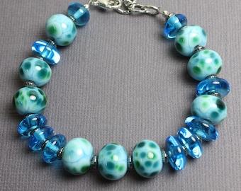 Blue Green Bracelet, Blue Bracelet, Lampwork Bracelet, Glass Bracelet, Blue Green Beaded Bracelet, Artisan Jewelry, Kathy Bankston