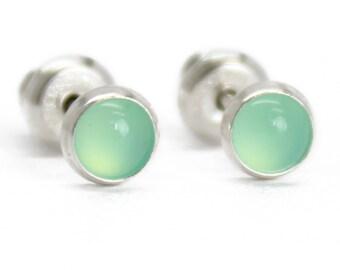 Chrysoprase stud earrings,gemstone stud earrings,hypoallergenic earrings,crystal stud earrings,boho,australian jade earrings,fashion studs,