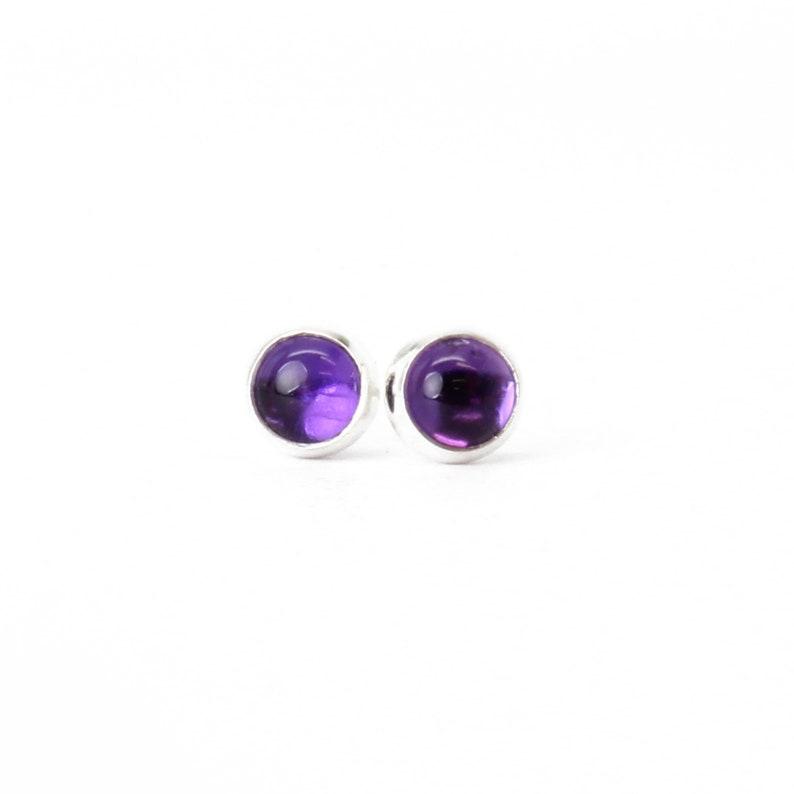 582244106 Amethyst Stud Earrings Purple Stud Earrings Small 4mm   Etsy
