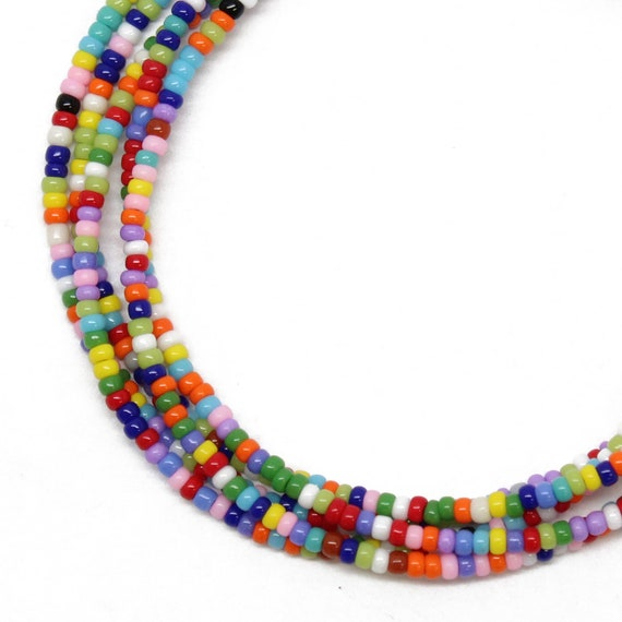 F Long String of Colourful Beads /' Love /' Bead Necklace