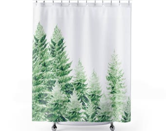 Pine Tree Shower Curtain Forest Green