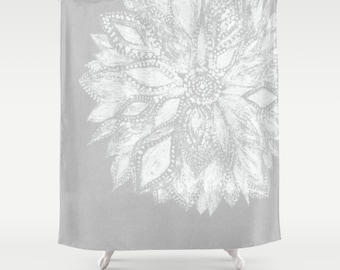 Modern Flower Shower Curtain Grey Gray White Floral