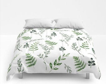 HLC Floral Leaf Trail Botanical Grey Bedding Duvet Cover Set
