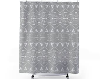 Grey Shower Curtain Gray Light White Bathroom