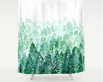 Forest Shower Curtain Tree Pine Green White