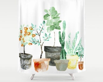Plant Shower Curtain Cactus White Green Indoor Plants