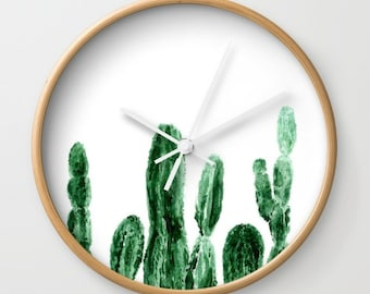 Modern Wall Clock Wall Clock Concrete Square with Cactus Silhouette Type 3