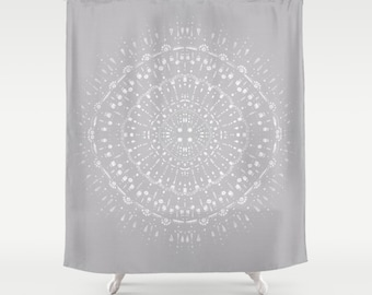 Light Grey White Shower Curtain Gray