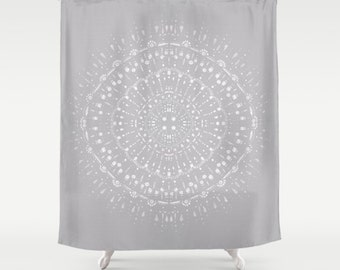 Light Grey White Shower Curtain, Grey Shower Curtain, Gray Shower Curtain, Grey  White Curtain, Light Gray Curtain, Light Grey Curtain