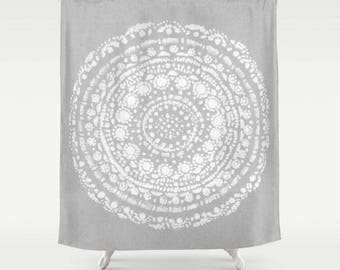 Grey White Shower Curtain Gray Light