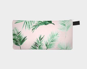 Pink Palm Leaf Pencil Pouch, palm leaf pouch, pink leaf pouch, blush pink pouch, leaf pencil pouch, pink pencil pouch