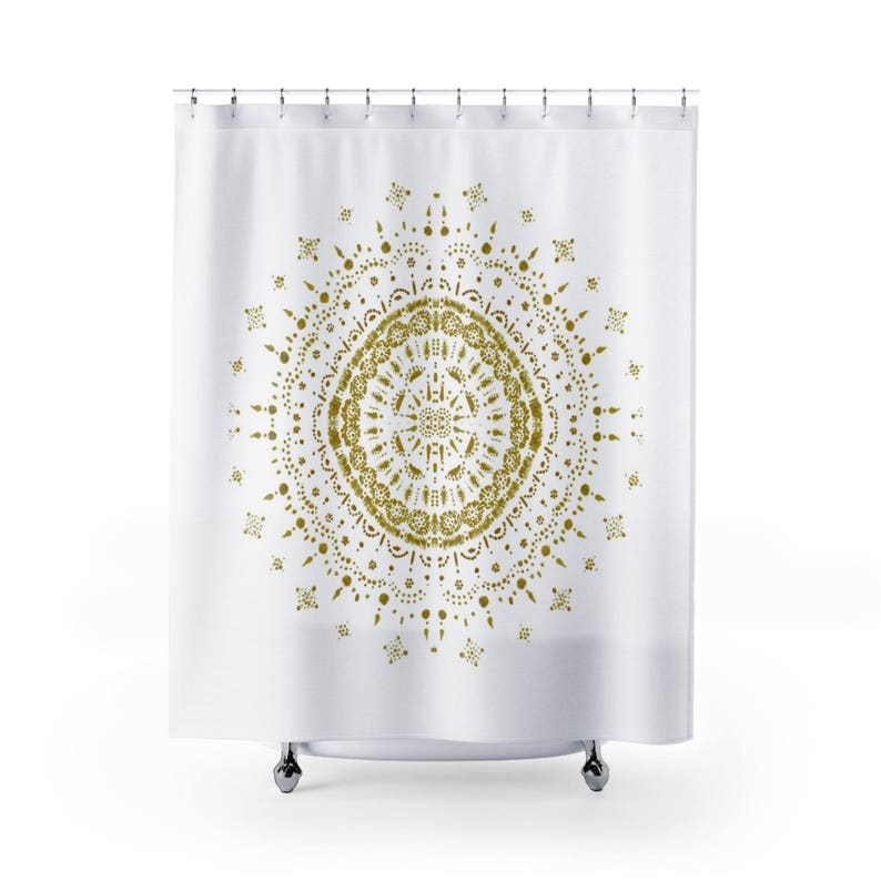 Gold White Mandala Shower Curtain