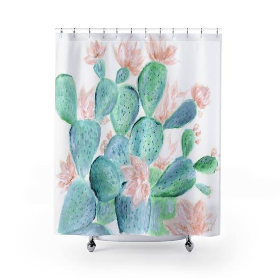 Floral Cactus Shower Curtain Succulent