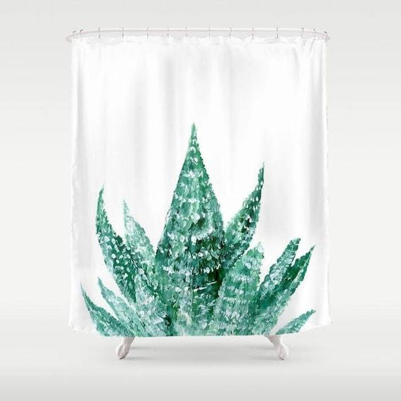 Succulent Shower Curtain Cactus White
