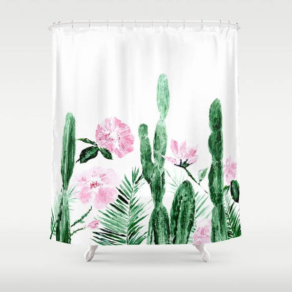 Floral cactus shower curtain cactus shower cactus curtain etsy image 0 mightylinksfo