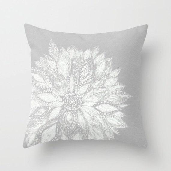 Grey White Flower Throw Pillow Grey Throw Pillow Gray Throw Etsy