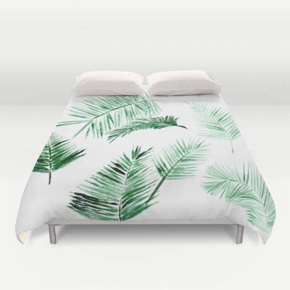 Palm Leaves Duvet Cover Palm Bed Cover Tropical Duvet Cover Etsy