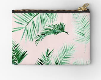 Pink Palm Leaf Makeup Bag, palm leaf pouch, pink makeup bag, palm leaves pouch, bridesmaid pouch, blush pink pouch