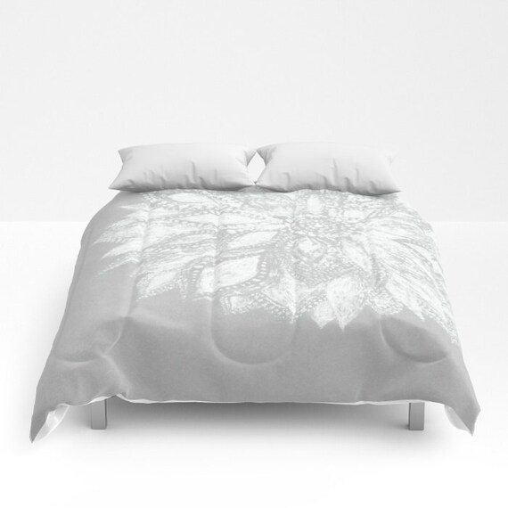 Grey white flower comforter grey white comforter gray white etsy image 0 mightylinksfo